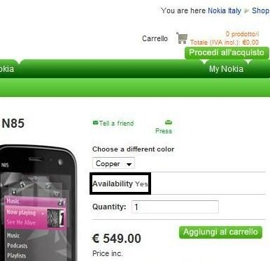 N85 & N79 Support Pages Online - N85 Possibly On Sale In Italy
